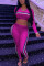 Pink Work Daily Solid V Neck Long Sleeve Two Pieces