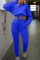 Blue Work Daily Solid Split Joint O Neck Long Sleeve Two Pieces