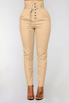 Khaki British Style Solid Buttons With Belt Regular Mid Waist Pencil Bottoms