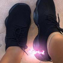 Black Casual Sportswear Bandage Round Sport Shoes