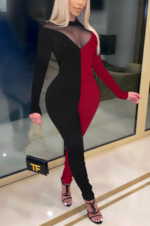 Black Red Fashion Sexy Patchwork See-through O Neck Regular Jumpsuits