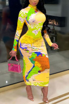 Yellow British Style Print Turtleneck A Line Dresses