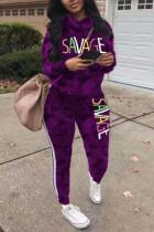Purple Fashion Casual Letter Print Camouflage Print Letter Turtleneck Plus Size Set