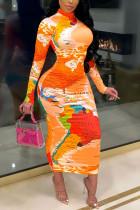 Orange British Style Print Turtleneck A Line Dresses