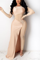 Apricot Fashion Sexy Patchwork See-through O Neck Skinny Jumpsuits