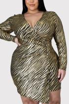Gold Fashion Casual Plus Size Print V Neck Long Sleeve Dress