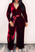 Wine Red Casual Long Sleeves Belted One-piece Jumpsuit