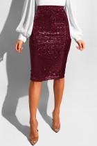 Wine Red Sequin Patchwork Hip skirt