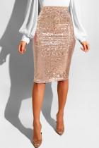 Apricot Sequin Patchwork Hip skirt