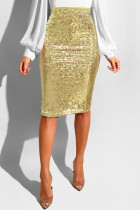 Gold Sequin Patchwork Hip skirt