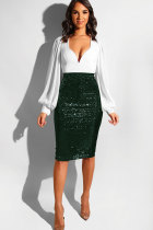 Dark green Sequin Patchwork Hip skirt