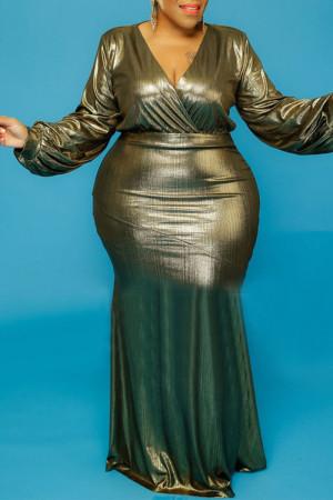 Gold Sexy Solid V Neck Evening Dress Dresses