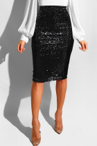 Black Sequin Patchwork Hip skirt