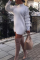 White Casual Solid Split Joint O Neck Wrapped Skirt Dresses