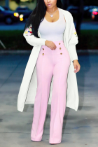 White Casual Solid Embroidered Outerwear