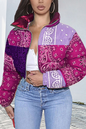 purple Fashion Casual Print Cardigan Outerwear(Batch Printing,Irregular Printing)