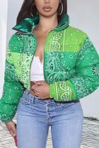 Green Fashion Casual Print Cardigan Outerwear(Batch Printing,Irregular Printing)