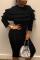 Black Solid Split Joint O Neck Wrapped Skirt Dresses
