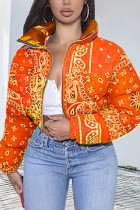 Orange Fashion Casual Print Cardigan Outerwear(Batch Printing,Irregular Printing)