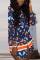 Tibetan Blue Sexy Print Split Joint Turndown Collar Straight Dresses