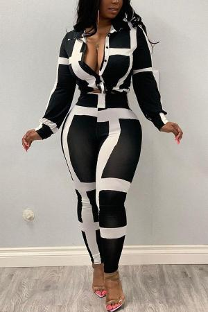 Black and white Casual Striped Two Piece Suits Print pencil Long Sleeve