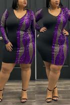 Black Fashion Patchwork V-neck Sequin Dress