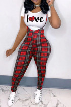Black Red Fashion Casual Letter Plaid Print Basic O Neck Short Sleeve Two Pieces