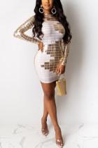 White Street Cap Sleeve Long Sleeves O neck Step Skirt Knee-Length Geometric Patchwork Sequin L