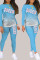 Sky Blue Living Print Split Joint O Neck Long Sleeve Two Pieces