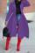 Purple Elegant Solid Split Joint Turndown Collar Outerwear