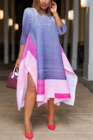 BluePink Fashion Striped Print Stitching Loose Dress