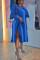 Blue Street Solid Split Joint V Neck Dresses