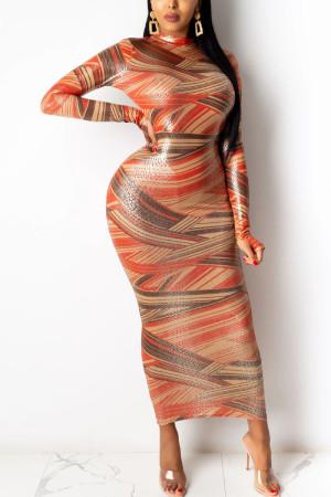 Multicolor Sexy Print Split Joint Mandarin Collar Wrapped Skirt Dresses