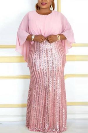 Pink Fashion Sequins Patchwork Chiffon Bat Sleeve Evening Dress