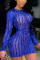 Color Blue Sexy Solid Hollowed Out Split Joint O Neck Pencil Skirt Dresses