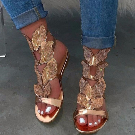 Gold Fashion Hollowed Out Hot Drill Fish Mouth Out Door Sandals
