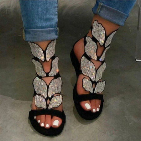 Black Fashion Hollowed Out Hot Drill Fish Mouth Out Door Sandals