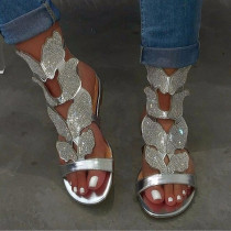 Silver Fashion Hollowed Out Hot Drill Fish Mouth Out Door Sandals