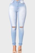 Light Blue Fashion Casual Ripped Denim Trousers