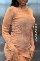 Apricot Elegant Print Split Joint Fold O Neck Pencil Skirt Dresses
