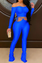 Blue Sexy Solid Bandage Split Joint Fold Bateau Neck Long Sleeve Two Pieces