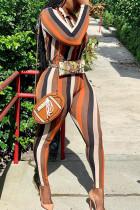 Orange Sexy Striped Print Turndown Collar Long Sleeve Two Pieces