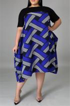 Blue Fashion Casual  Plus Size Patchwork Basic O Neck Short Sleeve Dress
