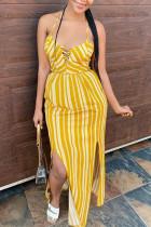 Yellow Fashion Sexy Striped Print Backless Spaghetti Strap Sling Dress