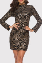 Gold Fashion Sexy Embroidery Sequins Split Joint Half A Turtleneck Long Sleeve Dresses