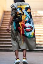 Green Fashion Casual Print Cardigan Outerwear