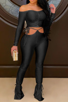 Black Sexy Solid Bandage Split Joint Fold Bateau Neck Long Sleeve Two Pieces