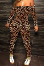 Leopard Print Sexy Print Strapless Regular Jumpsuits
