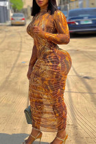 Multicolor Sexy Print See-through Fold O Neck Pencil Skirt Dresses