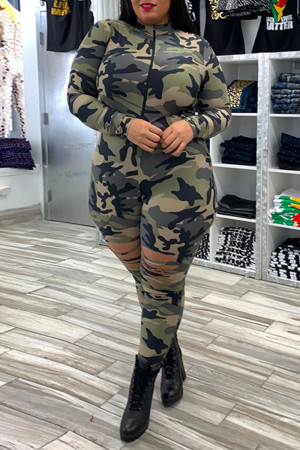 Camouflage Fashion Casual Camouflage Print Ripped Zipper Collar Skinny Jumpsuits